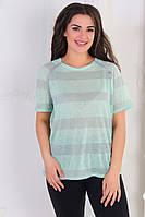 Яскрава жіноча стильна жіноча літнє смугаста футболка батал з трикотажу з люрексом (р. 48-56). Арт-1013/11, фото 1