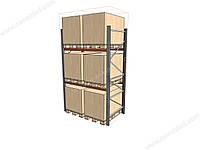 Стелаж палетний складський  3000(H) х 1800 (L )х1100 мм (пол. + 2 рівня по 2000 кг на рівень)