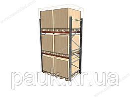 Стеллаж паллетный складской H3000хL1800х1100 мм(пол.+2 уровня по 2т на уровень), складской стеллаж для паллет
