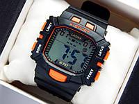 Водонепроницаемые спортивные наручные часы прямоугольной формы Lasika W-F87 - черные с оранжевым, фото 1