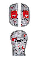 Накладки на ремни безопасности DavLu Много котов серый (N-065)