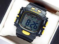 Водонепроникні спортивні наручний годинник прямокутної форми Lasika W-F87 - чорні з жовтим, фото 1