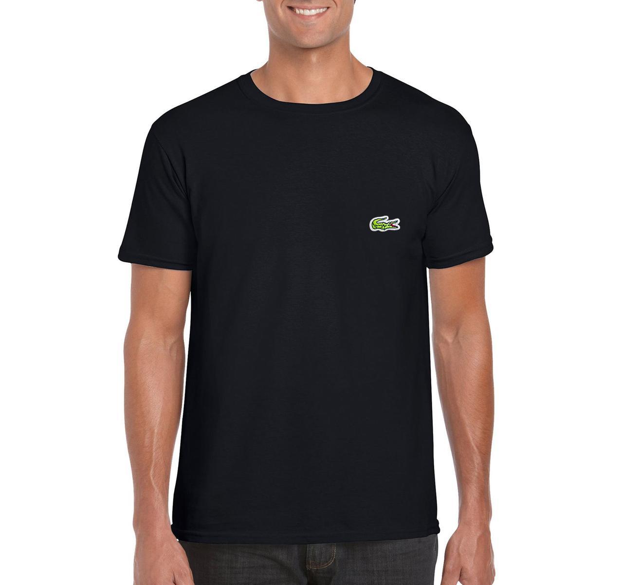 Мужская футболка Lacoste, мужская футболка Лакоста, спортивная, брендовая, хлопок, черная, копия