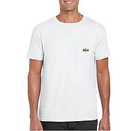 Мужская футболка Lacoste, мужская футболка Лакоста, спортивная, брендовая, хлопок, белая, копия