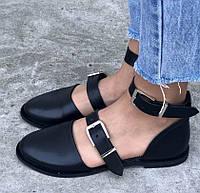 Модные женские кожаные босоножки на низком ходу без каблука с закрытой пяткой черные SR50IF05GN