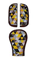 Накладки на ремни безопасности DavLu Мелкий треугольник коричневый (N-078)