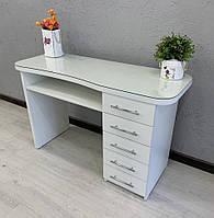 Маникюрный стол со стеклянной столешницей, стол с утолщенной столешницей. Модель V242 белый, фото 1