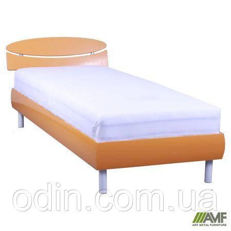 Кровать 0,8х2 Кэнди (МДФ), оранж металлик, ножки буковые цилиндр белые 029716
