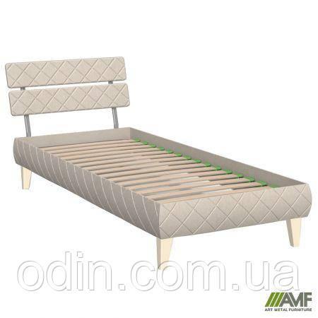 Кровать 0,8х2 Бизе, ткань Сидней 11, ножки буковые трапеция ваниль 029725