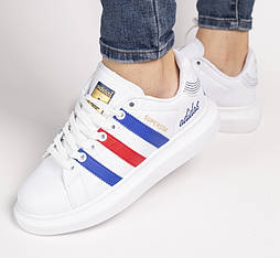 Женские кроссовки Adidas Superstar Supercolor white blue red белые 36-40. Живое фото. Самовывоз (Реплика ААА+)