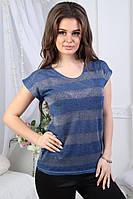 Яркая летняя женская стильная полосатая футболка из трикотажа с люрексом. Арт-1020/11