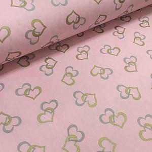 Ткань поплин сердца серые и золотые (глиттер) на розовом (ТУРЦИЯ шир. 2,4 м)
