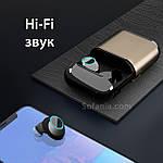 Бездротові навушники Bluetooth гарнітура Wi-pods S7 Оригінал з вологозахистом із чохлом Power bank. Gold, фото 5