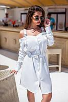 Белое стильное модное женское платье-рубашка с пояском и брительками на плечах . Арт - 1018/11
