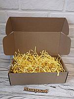 Коробка 300*150*100 мм крафт для подарка с жёлтым наполнителем , для сувенира, для мыла, косметики, пряника, фото 1