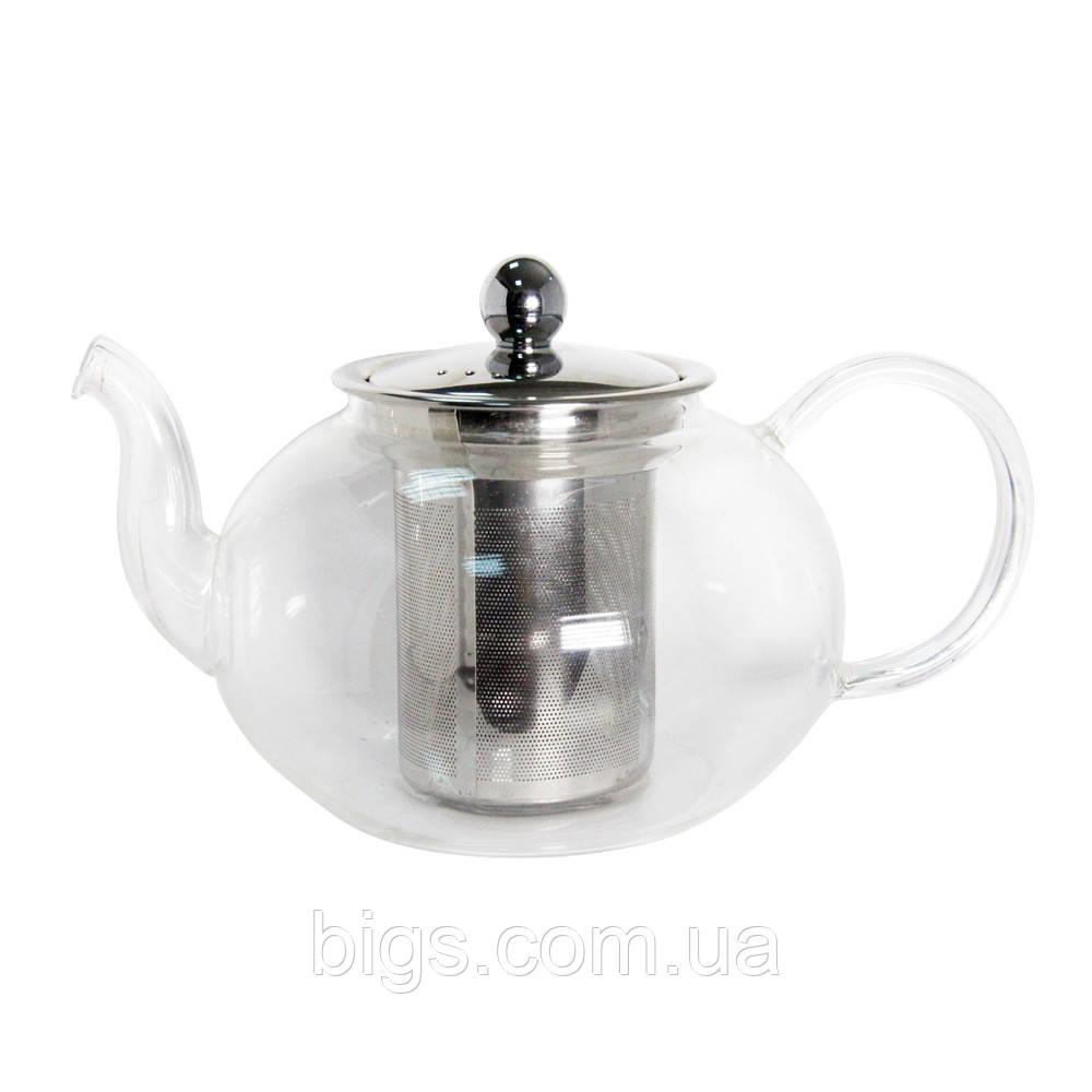 Чайник стеклянный с металлическим ситом Классика 600 мл ( заварник )