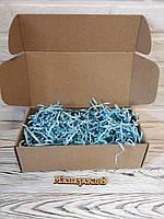 Коробка 300*150*100 мм крафт для подарка с голубым наполнителем , для сувенира, для мыла, косметики, пряника