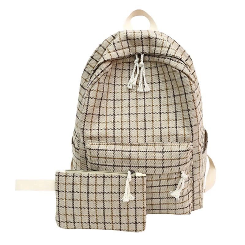 Рюкзак в клетку в наборе с пеналом бежевый SUQI (AV193)