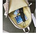 Рюкзак в клетку в наборе с пеналом бежевый SUQI (AV193), фото 5