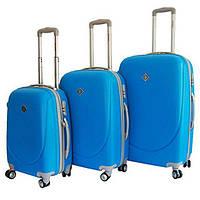 Набор чемоданов на колесах Bonro Smile с двойными колесами Голубой 3 штуки