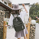 Рюкзак в клеточку набор 2в1 с пеналом черный., фото 5
