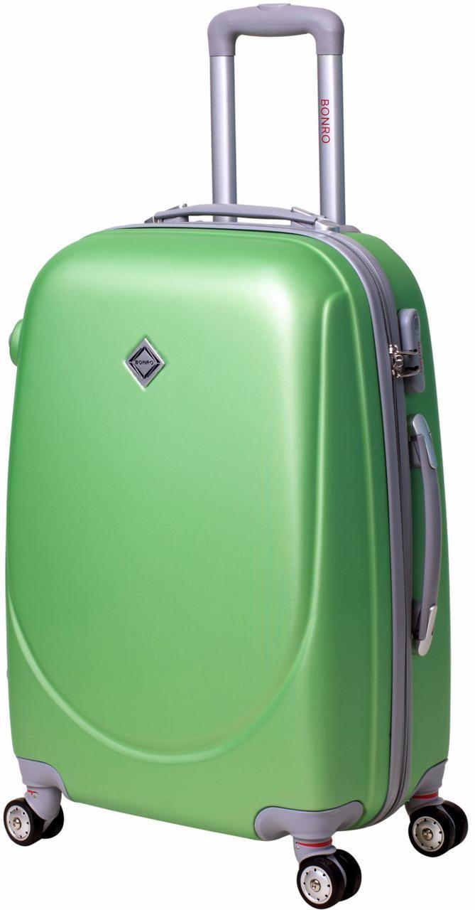 Дорожный чемодан на колесах Bonro Smile с двойными колесами Салатовый Большой