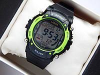 Водонепроницаемые спортивные наручные часы  Lasika W-F20 - черные с салатовым, фото 1