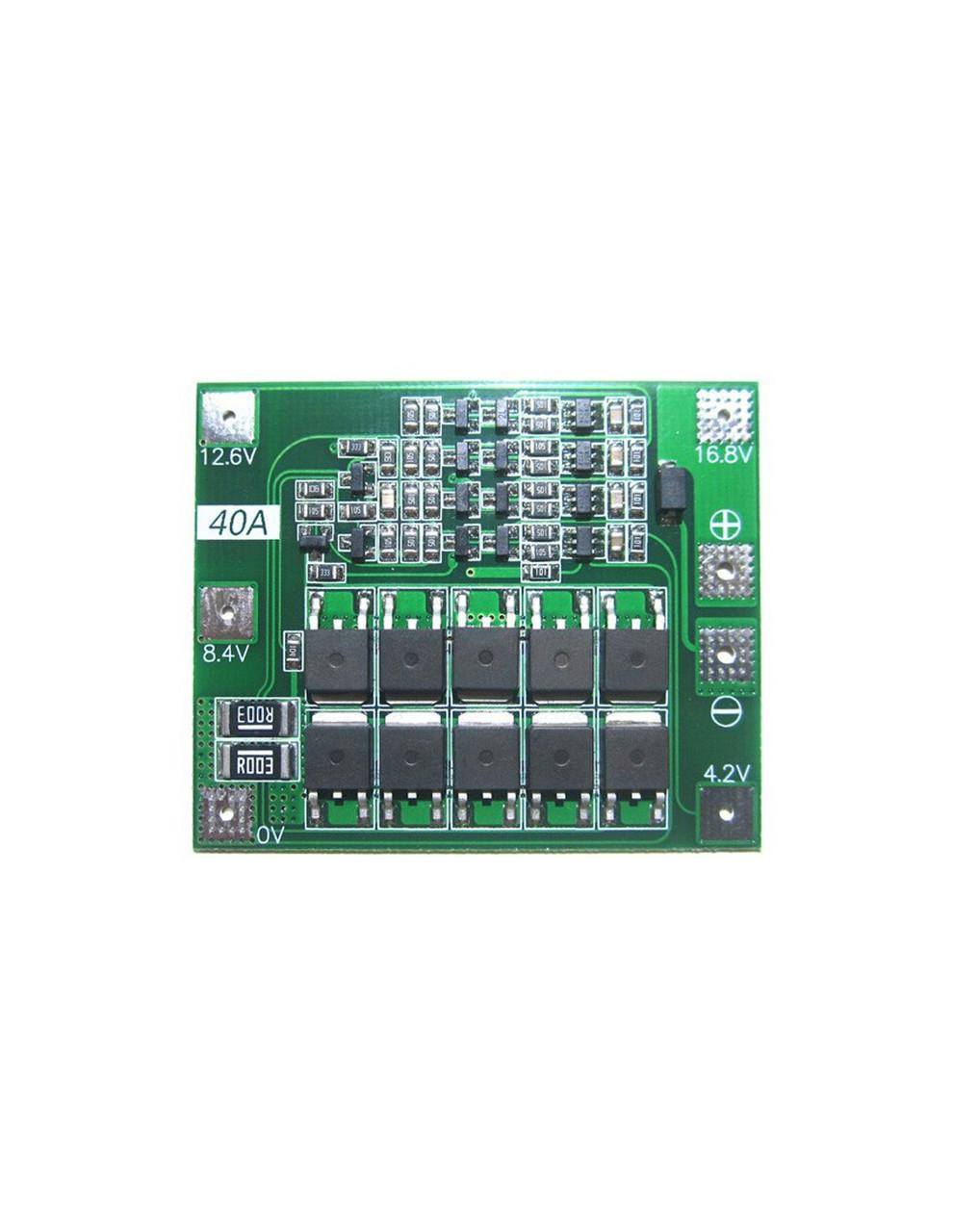 BMS контролер 4S 40А плата заряду захисту 4x Li-ion 18650 з балансиром