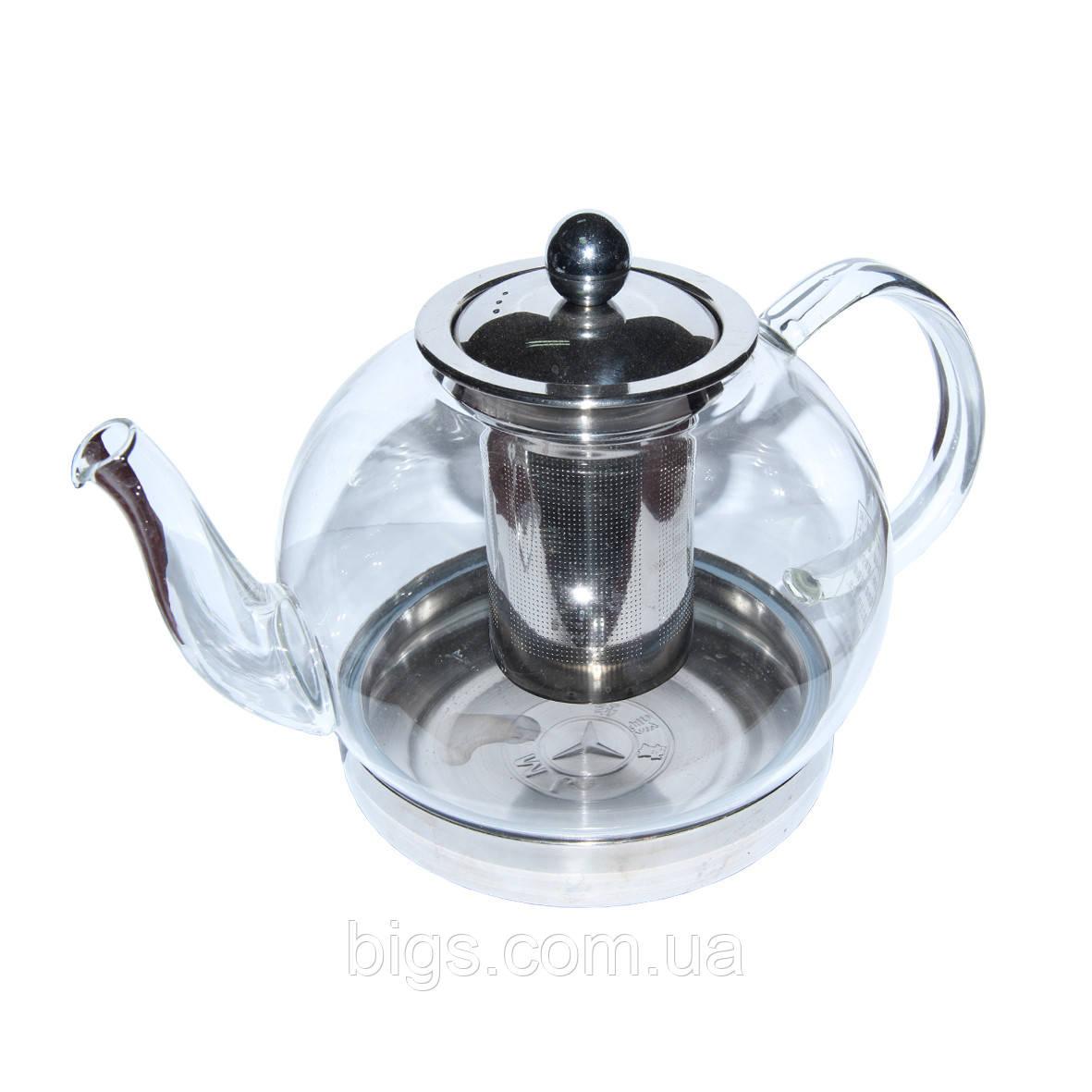 Чайник стеклянный с металлическим ситом Индукция 1300 мл ( заварник )