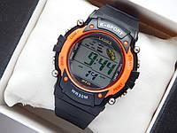 Водонепроницаемые спортивные наручные часы  Lasika W-F20 - черные с оранжевым, фото 1