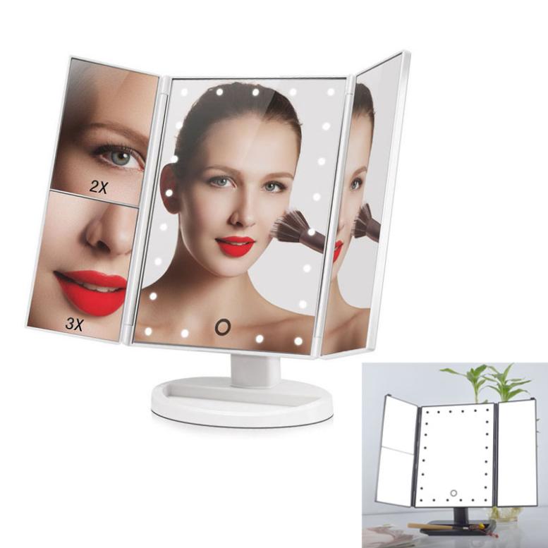 Косметическое тройное зеркало с сенсорной кнопкой, Magnifying Mirror 3 в 1 зеркало с подсветкой и увеличением