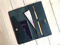 УЦЕНКА! Кожаное портмоне-тревелер для билетов Goose™ G0021 голубой (холдер для документов), фото 1