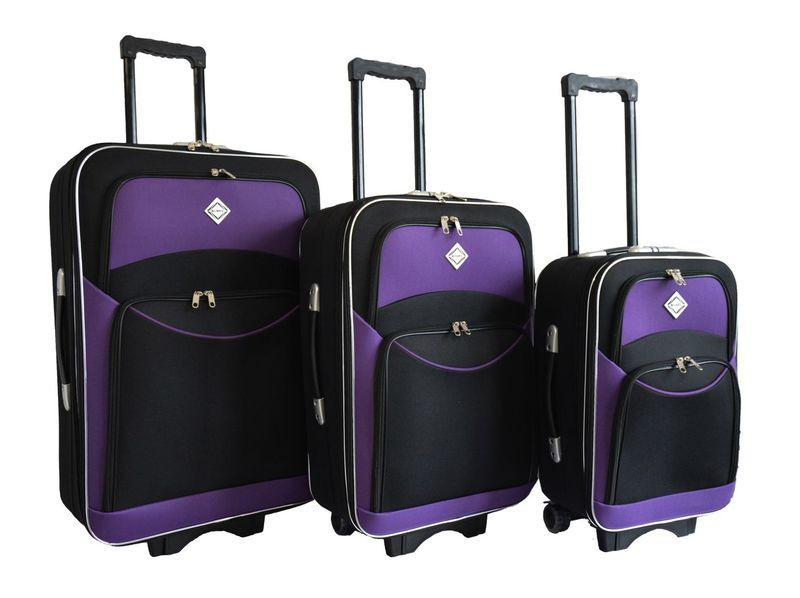 Набор чемоданов на колесах Bonro Style Черно-фиолетовый 3 штуки