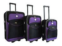 Набор чемоданов на колесах Bonro Style Черно-фиолетовый 3 штуки, фото 1