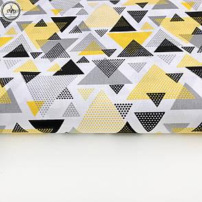 """Польская хлопковая ткань """"Треугольники желто-черные розсыпь"""", фото 2"""