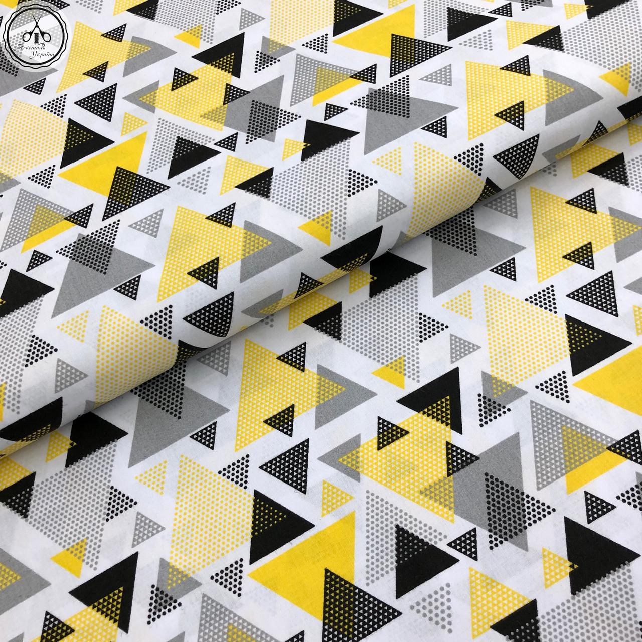 """Польская хлопковая ткань """"Треугольники желто-черные розсыпь"""""""