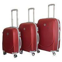 Набор чемоданов на колесах Bonro Smile с двойными колесами Бордовый 3 штуки