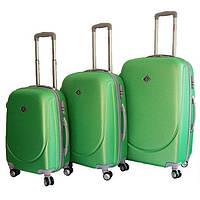 Набор чемоданов на колесах Bonro Smile с двойными колесами Салатовый 3 штуки