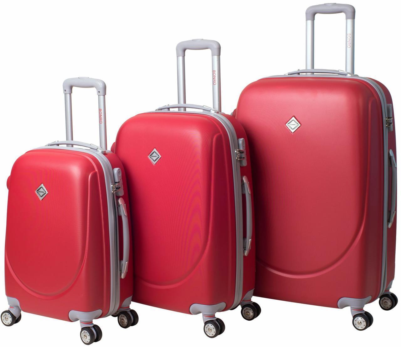 Набор чемоданов на колесах Bonro Smile с двойными колесами Красный 3 штуки