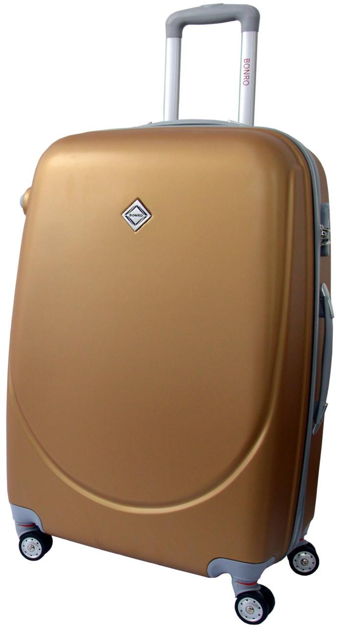 Дорожный чемодан на колесах Bonro Smile с двойными колесами Золотой Средний