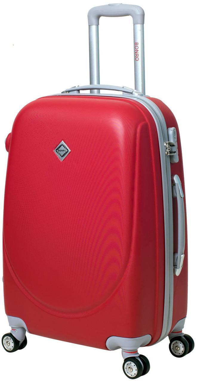 Дорожный чемодан на колесах Bonro Smile с двойными колесами Красный Большой