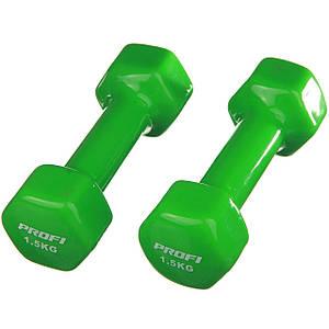 Гантель 1.5 кг Profi с виниловым покрытием (Зеленый)