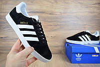 Мужские кроссовки, кеды в стиле Adidas Gazelle, замша, черные с белым 43 (27,5 см)