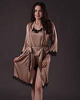 Комплект женский ( шорты с маечкой + халат )  из шелка Армани с французским кружевом Шантильи, фото 1