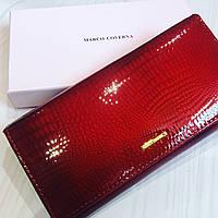 46ae51c42378 Лаковый красный женский кошелёк на магнитах натуральная кожа Marco Coverna