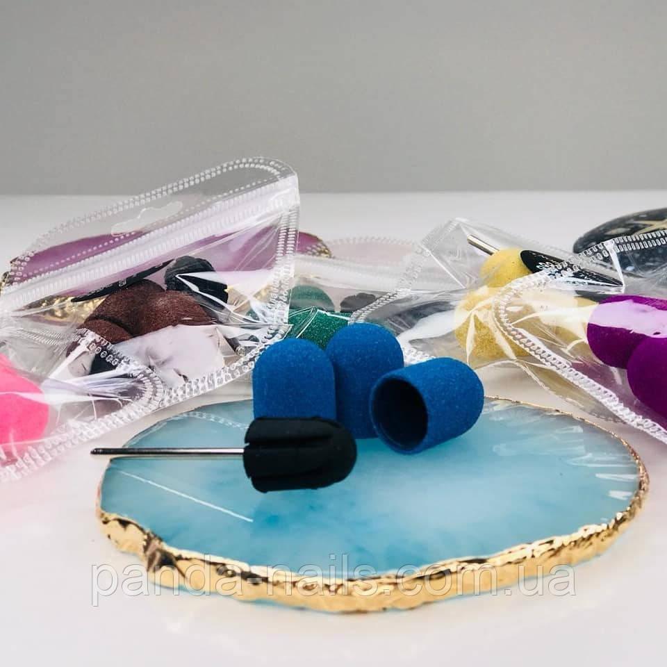 Набор для педикюра : резиновый держатель ( насадка)  +3 колпачка 13 мм, цвета в ассортименте