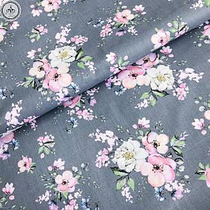"""Польская хлопковая ткань """"Цветы яблони на сером"""", фото 2"""