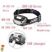 Налобный фонар Viator High Power LED CREE + 2 Red LED + зарядка от USB + встроенный аккумулятор, фото 1