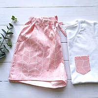 Домашняя пижама розовая с белым 100% хлопок