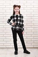 Кофта  детская Татьяна Филатова модель 168 черно белая клетка 134